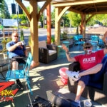 Tim Buc Moore kicking it with a loyal Buc Head at the Coffee Ranch in Chico for Wake the Buc up on 106.7 Z-Rock