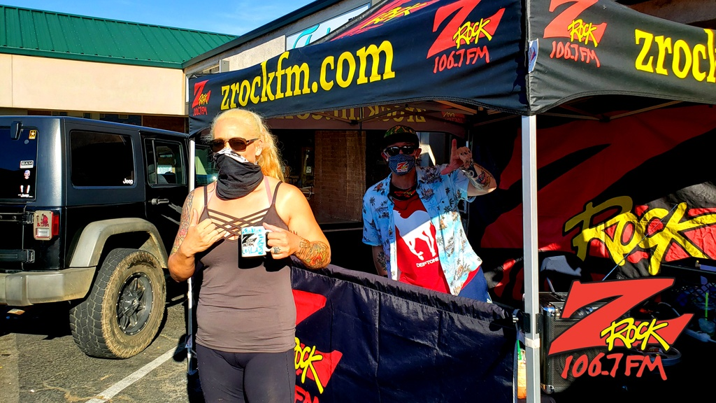 Tim Buc Moore with a loyal Buc Head at Betty Cakes and Coffee in Oroville California for Wake the Buc Up on 106.7 Z-Rock