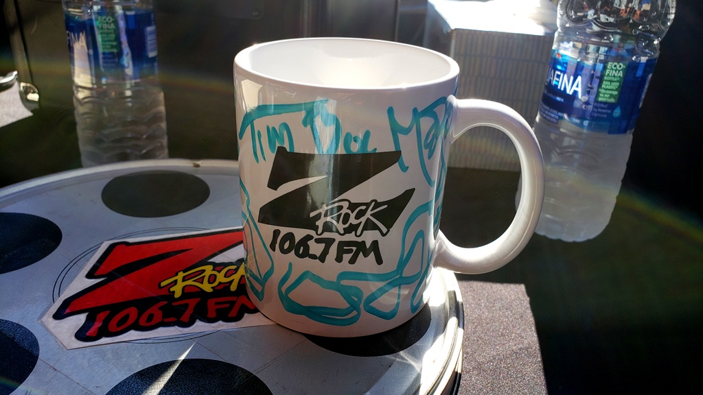 """World famous Z-Rock """"doodle"""" mug (sanitized) from Tim Buc Moore during Wake the Buc Up at Betty Cakes and Coffee in Oroville California on 106.7 Z-Rock"""