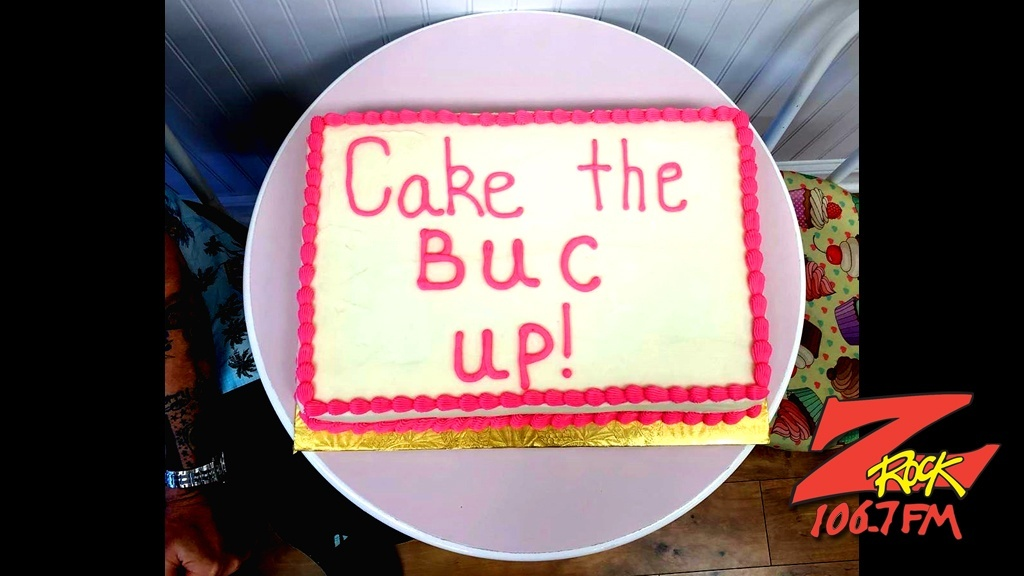 """Special """"Cake"""" the Buc Up from Betty Cakes and Coffee in Oroville CA for Wake the Buc Up with Tim Buc Moore on 106.7 Z-Rock"""