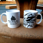 """World famous Z-Rock """"Doodle"""" mugs at Black Rose Coffee & Tea in Redding California for Wake the Buc Up on 106.7 Z-Rock"""