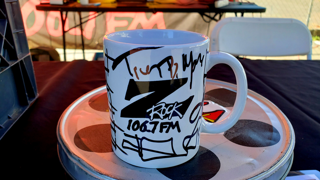 "World famous Z-Rock ""Doodle"" mug at Equilateral Coffee in Chico California for Wake the Buc Up on 106.7 Z-Rock"