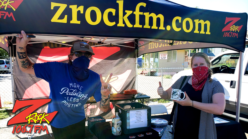 Tim Buc Moore with a loyal Buc Head at Equilateral Coffee in Chico California for Wake the Buc Up on 106.7 Z-Rock