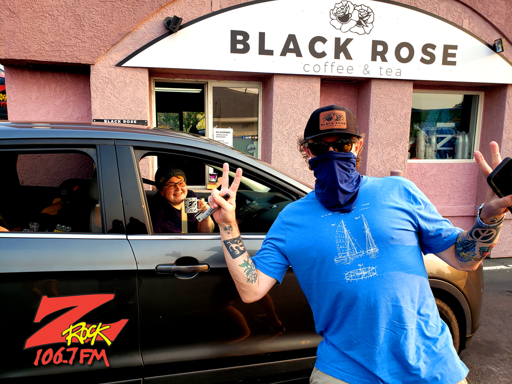Tim Buc Moore with a loyal Buc-Heads at Black Rose Coffee & Tea in Redding CA for Wake the Buc Up on 106.7 Z-Rock