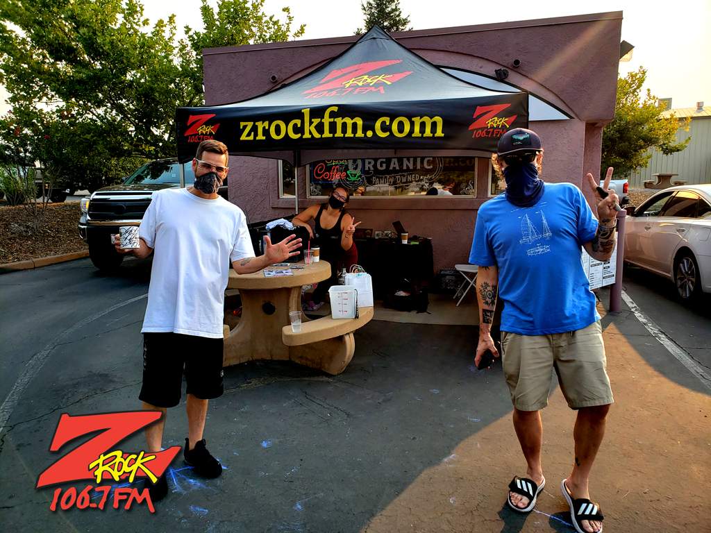 Tim Buc Moore with a loyal Buc-Head at Black Rose Coffee & Tea in Redding CA for Wake the Buc Up on 106.7 Z-Rock
