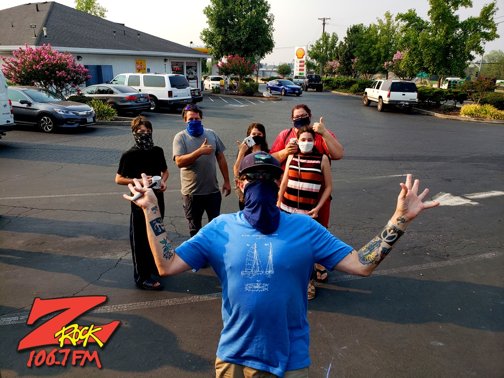 Tim Buc Moore with loyal Buc-Heads at Black Rose Coffee & Tea in Redding CA for Wake the Buc Up on 106.7 Z-Rock