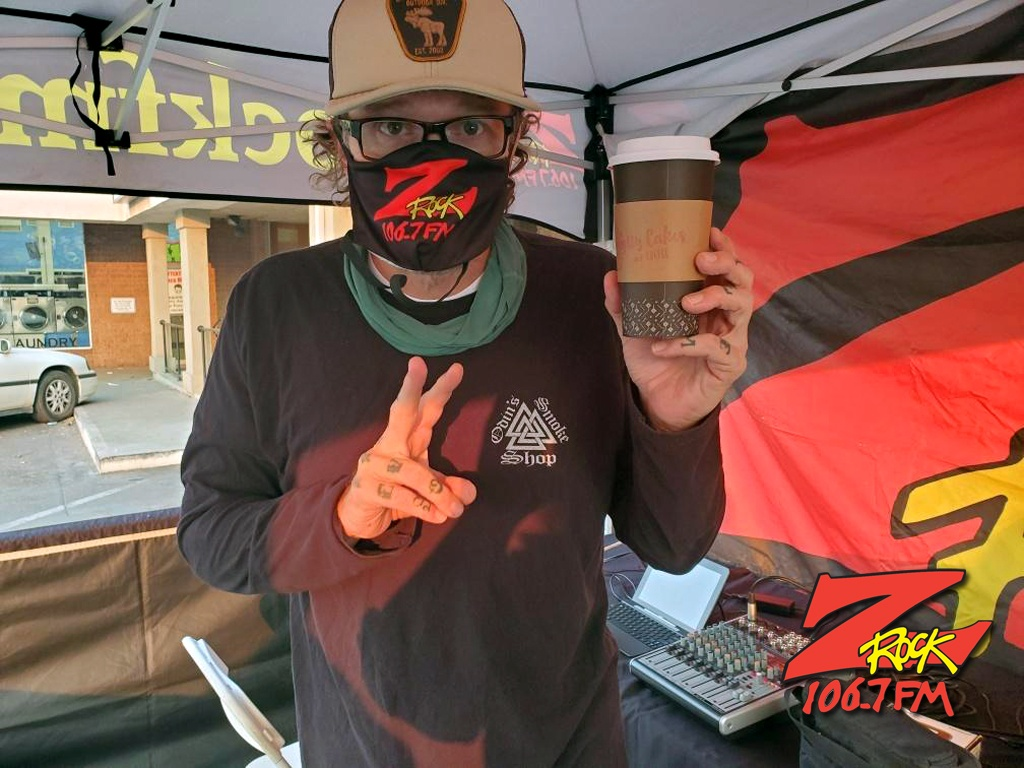 Tim Buc Moore broadasting live at Betty Cakes and Coffee in Oroville CA for Wake the Buc Up on 106.7 Z-Rock October 1st 2020