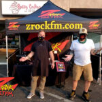 Tim Buc Moore with a loyal Buc Head at Betty Cakes and Coffee in Oroville CA for Wake the Buc Up on 106.7 Z-Rock October 1st 2020