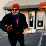 Tim Buc Moore with some breakfast goodies at Lovely Layers Cakery in Chico CA for Wake the Buc Up on 106.7 Z-Rock