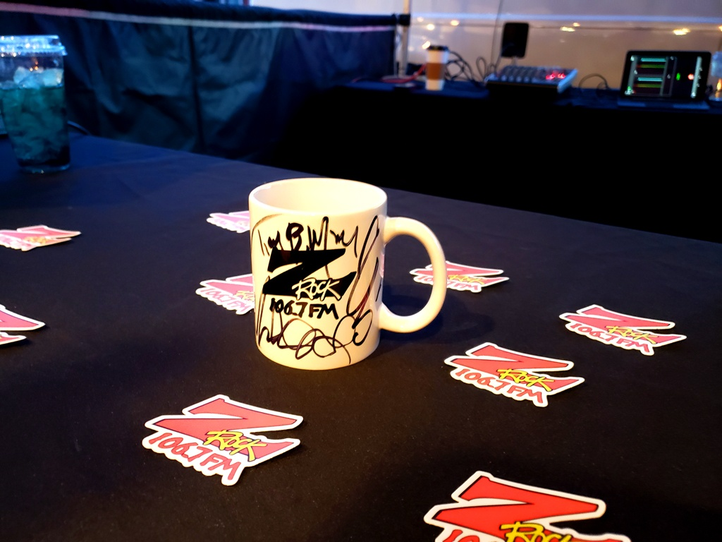 """World famous Z-Rock """"Doodle"""" mug customized by Tim Buc Moore at Legendary Coffee/Juice in Red Bluff for Wake the Buc Up on 106.7 Z-Rock December 24th 2020"""