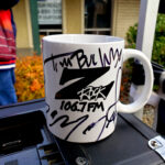 """World famous Z-Rock """"Doodle"""" mug customized by Tim Buc Moore at Chico Creek Coffee for Wake the Buc Up on 106.7 Z-Rock December 17th 2020"""