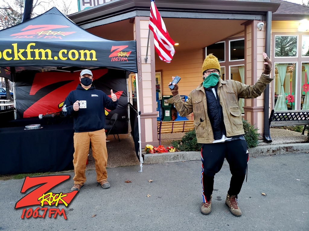 """Tim Buc Moore with a loyal """"Buc head"""" at the Hilltop Cafe in Magalia California on Thursday December 10th 2020 for Wake the Buc Up on 106.7 Z-Rock"""