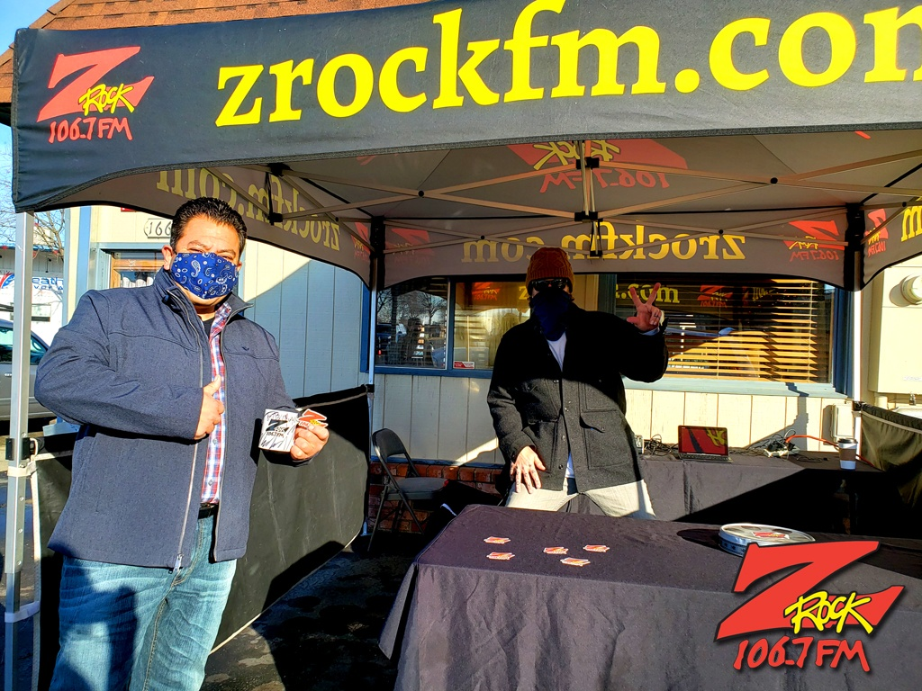 Tim Buc Moore with a loyal Buc-Head at Lots 'A Java in Oroville CA for Wake the Buc Up on 106.7 Z-Rock