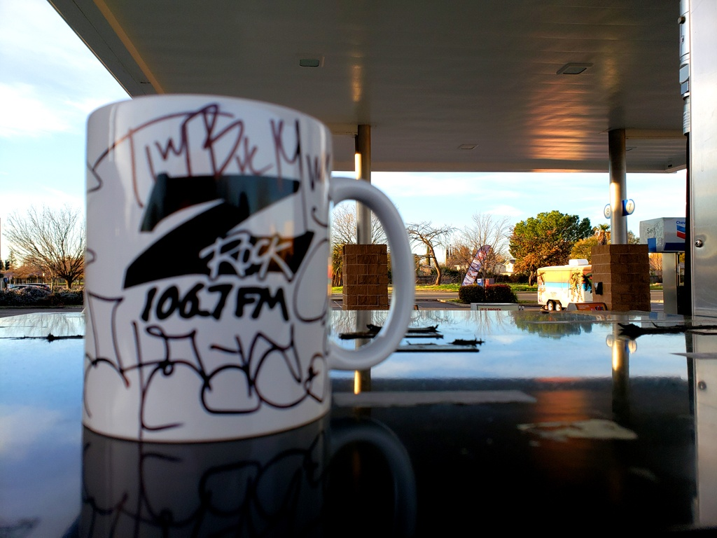 """World famous Z-Rock """"Doodle"""" mug customized by Tim Buc Moore at PV Circle K Chevron in Chico California for Wake the Buc Up on 106.7 Z-Rock February 25th 2021"""