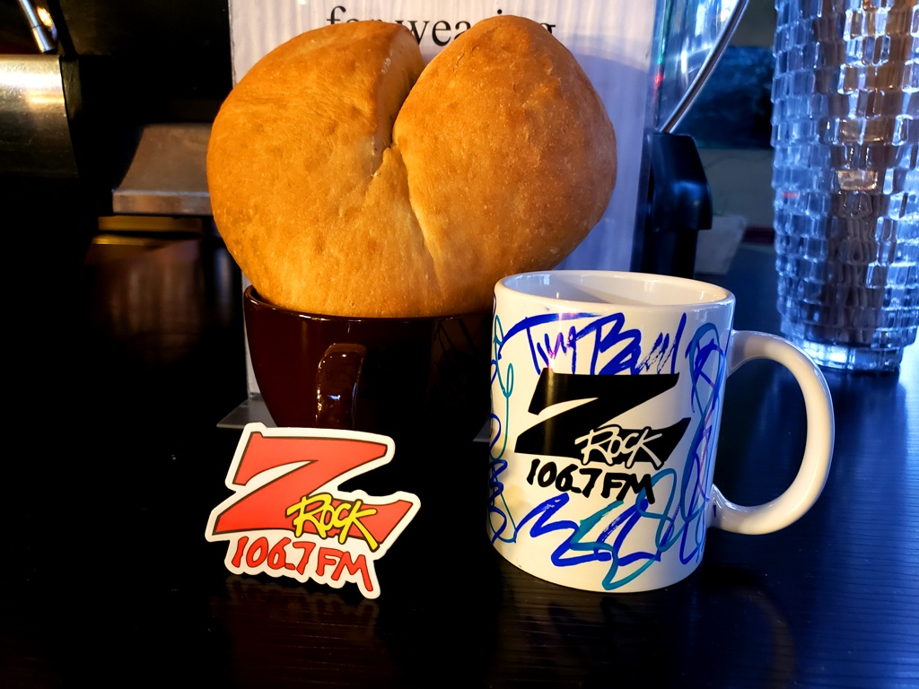 "World famous Z-Rock ""Doodle"" mug customized by Tim Buc Moore at Tin Roof Cafe & Bakery in Chico California for Wake the Buc Up on 106.7 Z-Rock February 11th 2021"