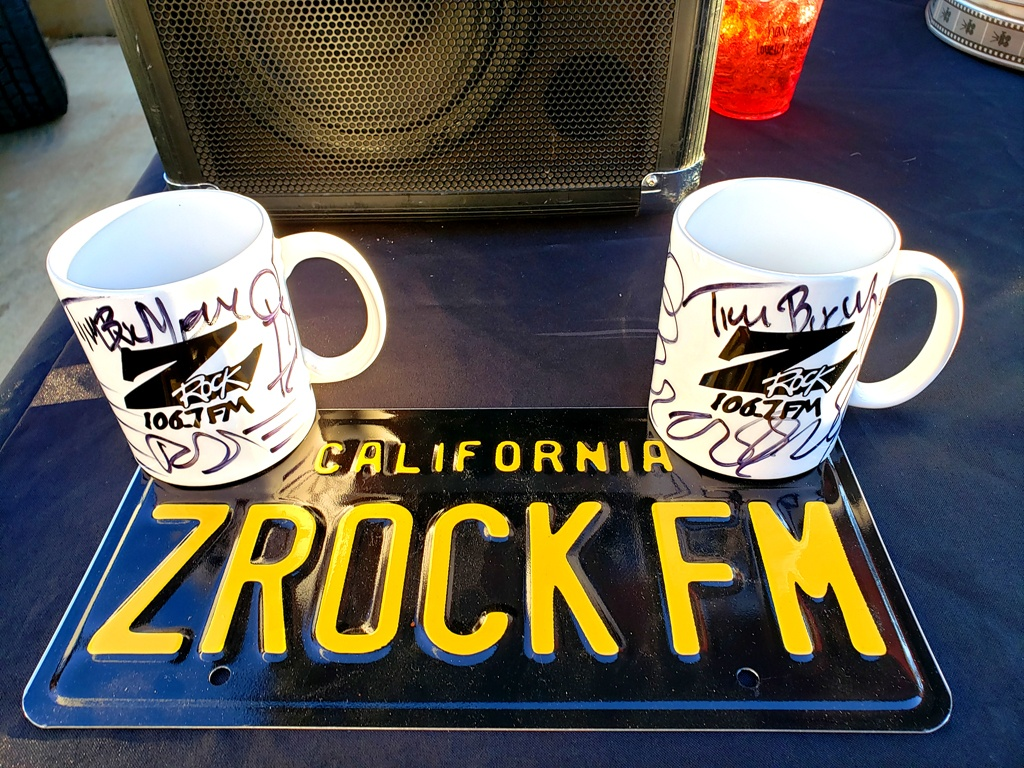 """World famous Z-Rock """"Doodle"""" mugs customized by Tim Buc Moore at Lynn's Coffee & Crepes in Paradise California for Wake the Buc Up on 106.7 Z-Rock February 4th 2021"""