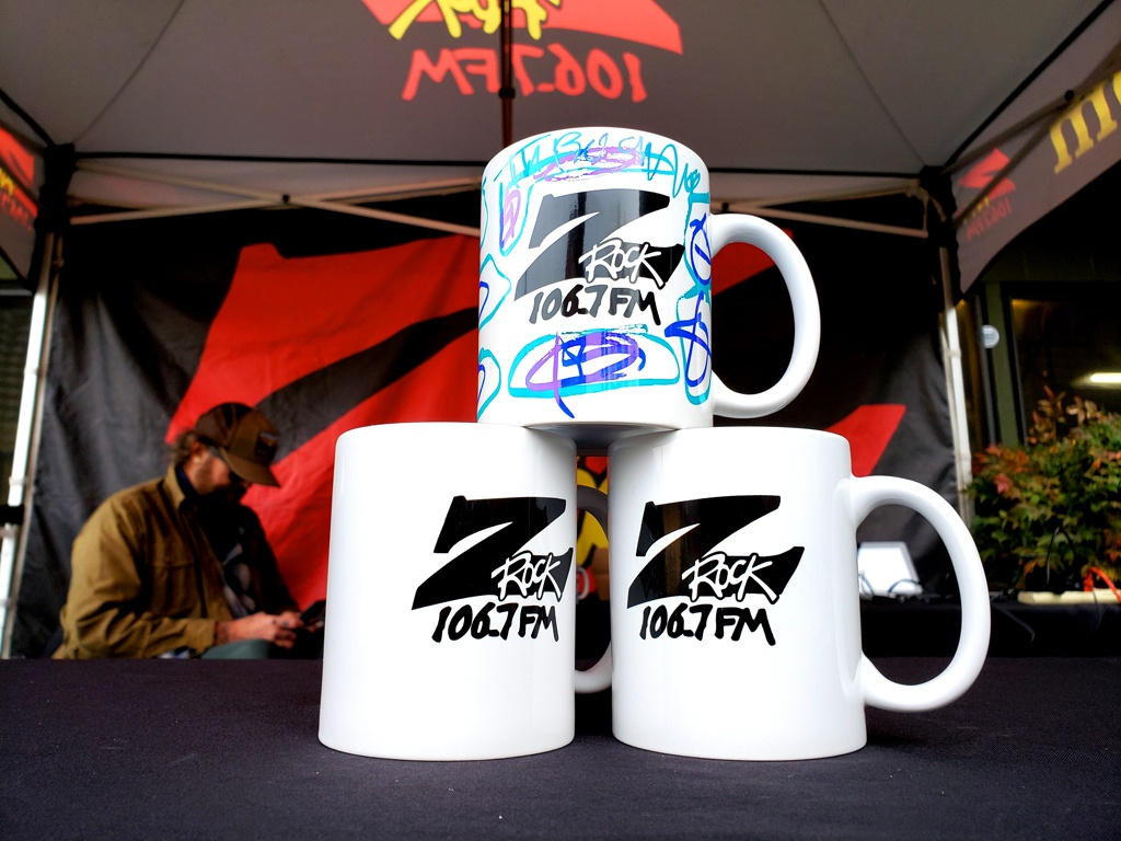 "World famous Z-Rock ""Doodle"" mugs customized by Tim Buc Moore at Tin Roof Cafe & Bakery in Chico California for Wake the Buc Up on 106.7 Z-Rock February 11th 2021"