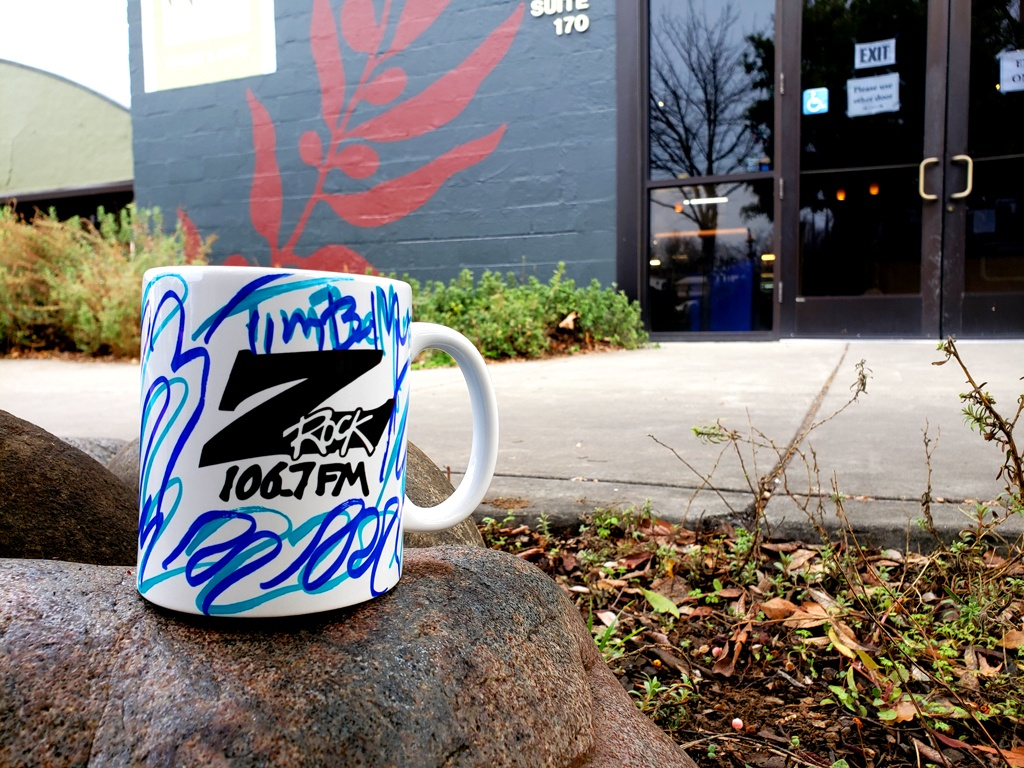 """World famous Z-Rock """"Doodle"""" mug customized by Tim Buc Moore at Tin Roof Cafe & Bakery in Chico California for Wake the Buc Up on 106.7 Z-Rock February 11th 2021"""