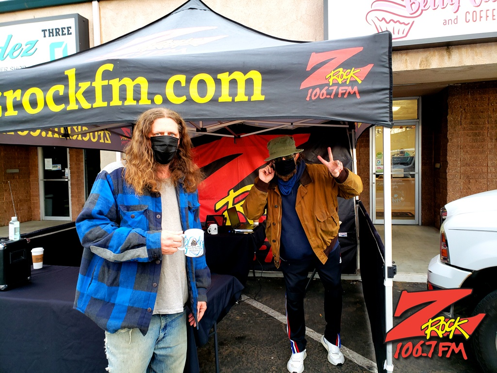Tim Buc Moore with a loyal Buc-Head at Betty Cakes & Coffee in Oroville CA for Wake the Buc Up on 106.7 Z-Rock February 18th 2021