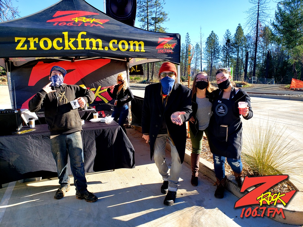 Tim Buc Moore with loyal Buc-Heads at Lynn's Coffee & Crepes in Paradise CA for Wake the Buc Up on 106.7 Z-Rock February 4th 2021