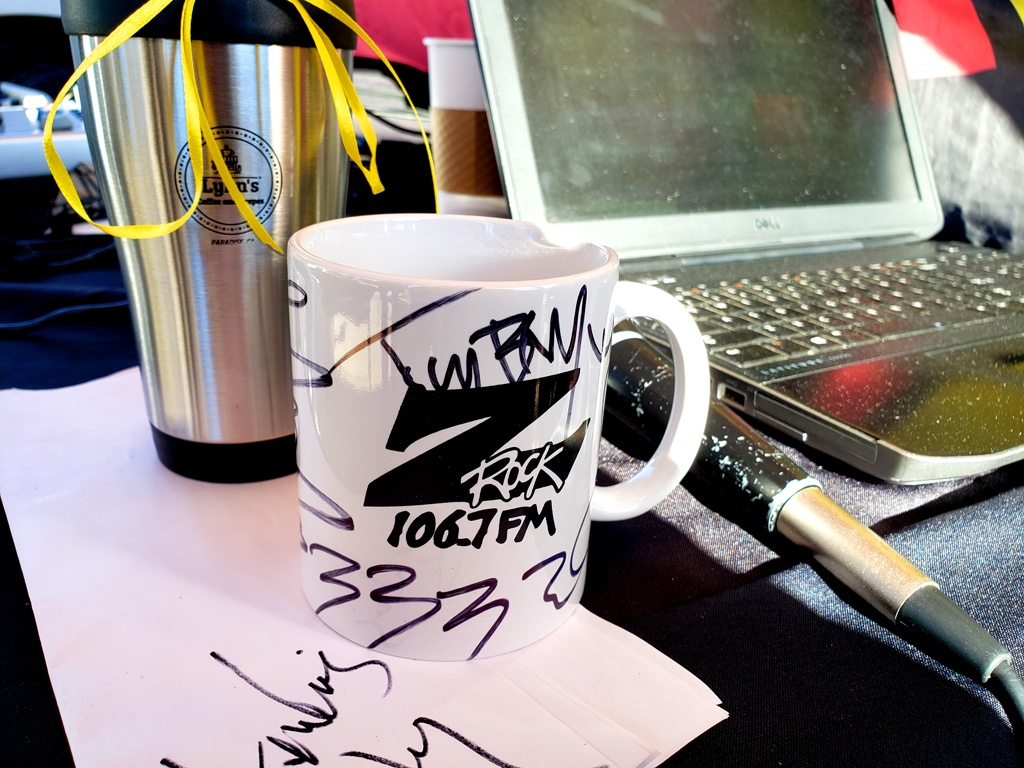 """World famous Z-Rock """"Doodle"""" mug customized by Tim Buc Moore at Lynn's Coffee & Crepes in Paradise California for Wake the Buc Up on 106.7 Z-Rock February 4th 2021"""