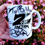 """World famous Z-Rock """"Doodle"""" mug customized by Tim Buc Moore at Chico Creek Coffee in Chico California for Wake the Buc Up on 106.7 Z-Rock April 8th 2021"""