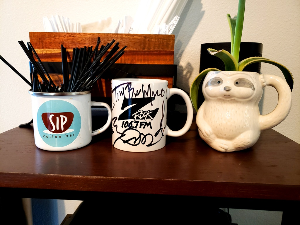 "World famous Z-Rock ""Doodle"" mug customized by Tim Buc Moore at SIP Coffee Bar in Red Bluff California for Wake the Buc Up on 106.7 Z-Rock April 15th 2021"