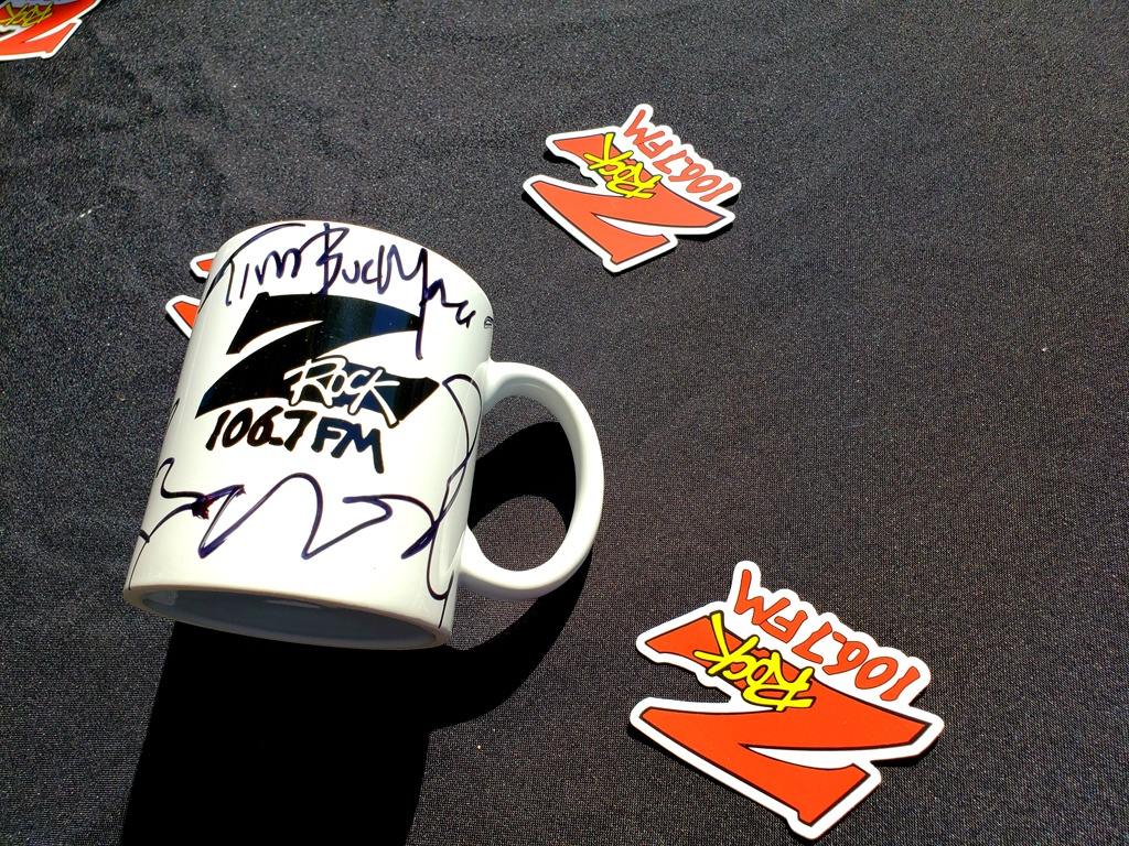 """World famous Z-Rock """"Doodle"""" mug customized by Tim Buc Moore at Beatniks in Chico California for Wake the Buc Up on 106.7 Z-Rock April 1st 2021"""