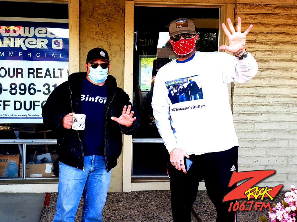 Tim Buc Moore with a loyal Buc-Head at Chico Creek Cafe in Chico CA for Wake the Buc Up on 106.7 Z-Rock April 8th 2021