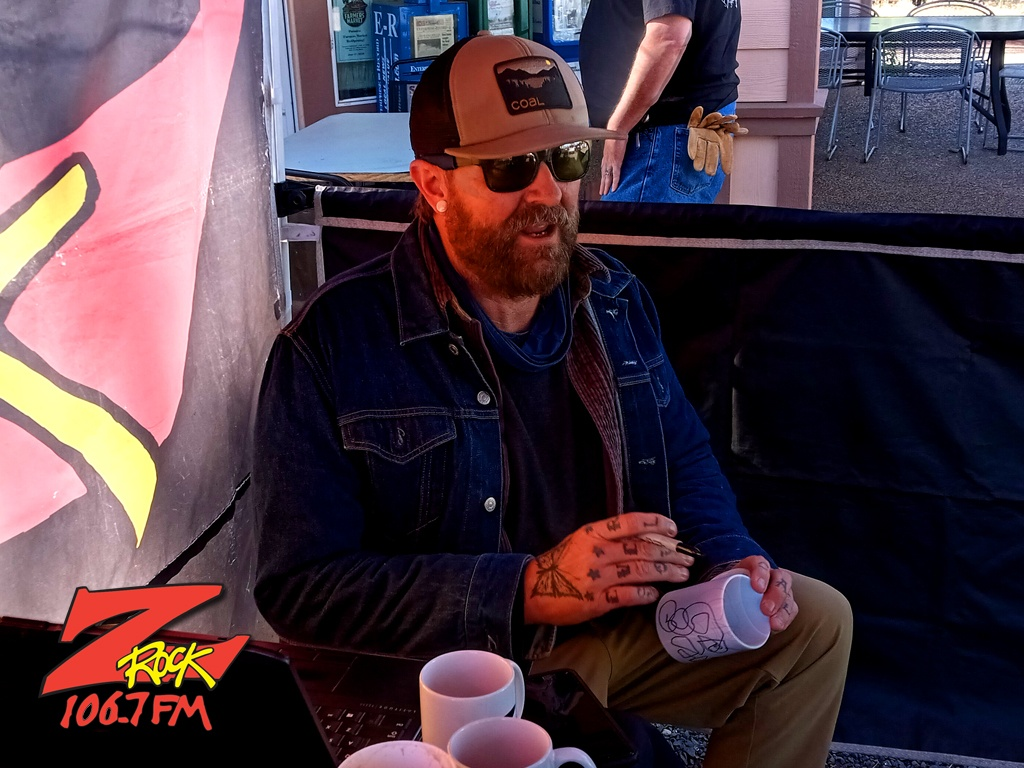 Tim Buc Moore doodling on a Z-Rock mug at Hilltop Cafe in Magalia CA for Wake the Buc Up on 106.7 Z-Rock June 10th 2021