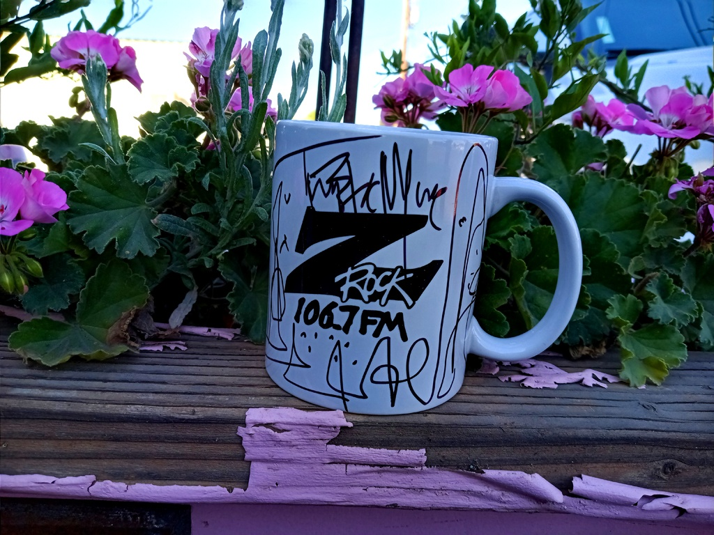 """World famous Z-Rock """"Doodle"""" mug customized by Tim Buc Moore at Lovely Layers Cakery in Chico California for Wake the Buc Up on 106.7 Z-Rock June 3rd 2021"""