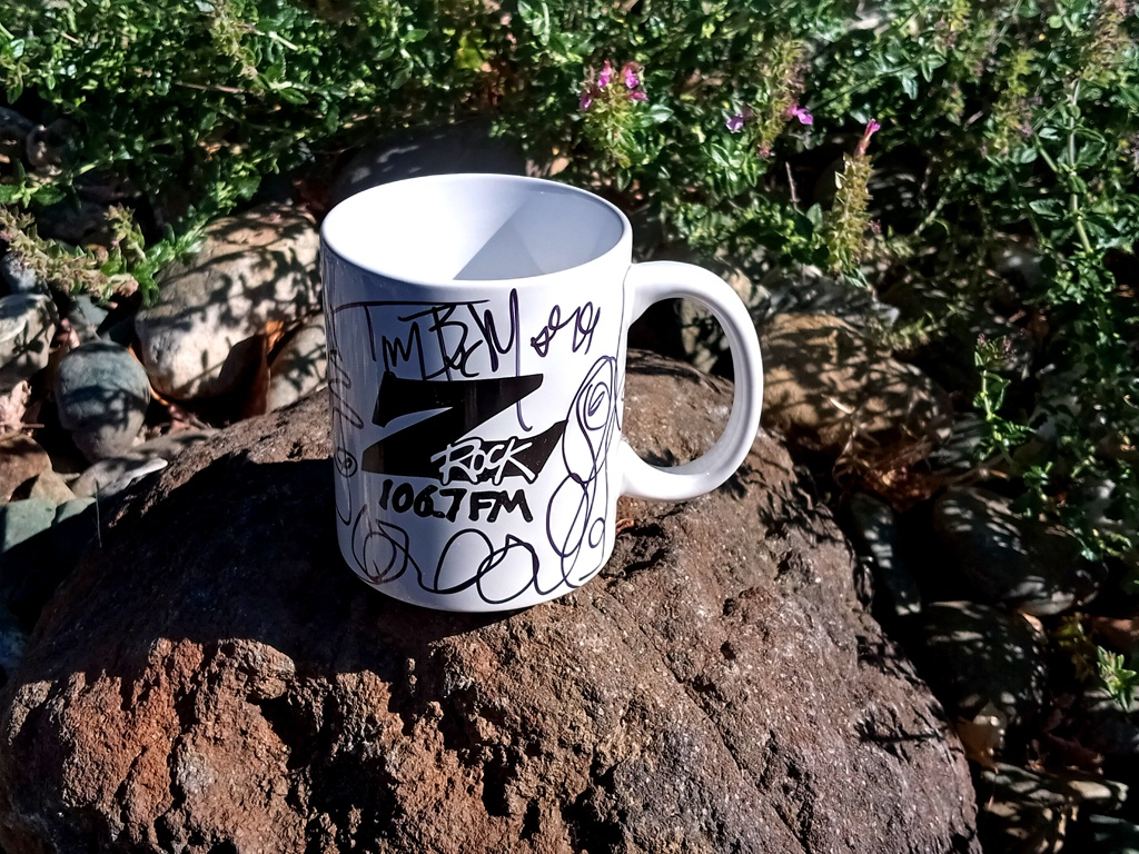 """World famous Z-Rock """"Doodle"""" mug customized by Tim Buc Moore at Chico Creek Coffee in Chico California for Wake the Buc Up on 106.7 Z-Rock June 17th 2021"""