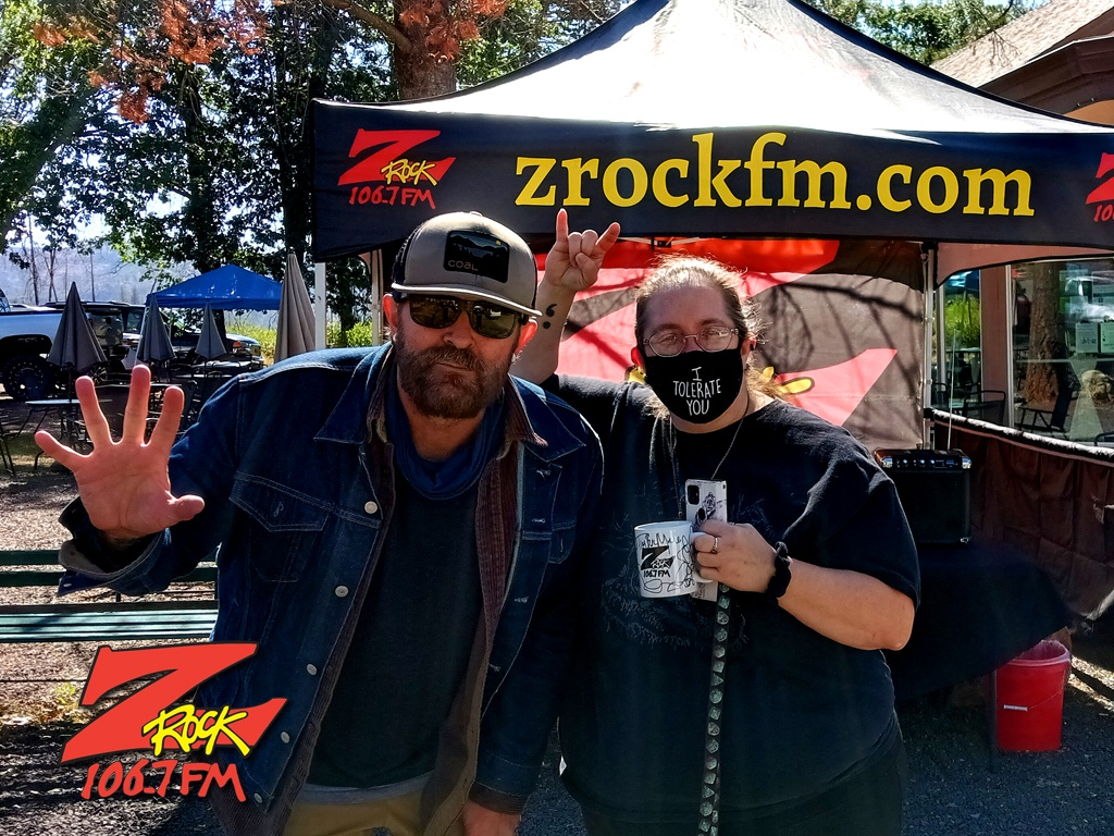 Tim Buc Moore with a loyal Buc-Head at Hilltop Cafe in MagaliaCA for Wake the Buc Up on 106.7 Z-Rock June 10th 2021